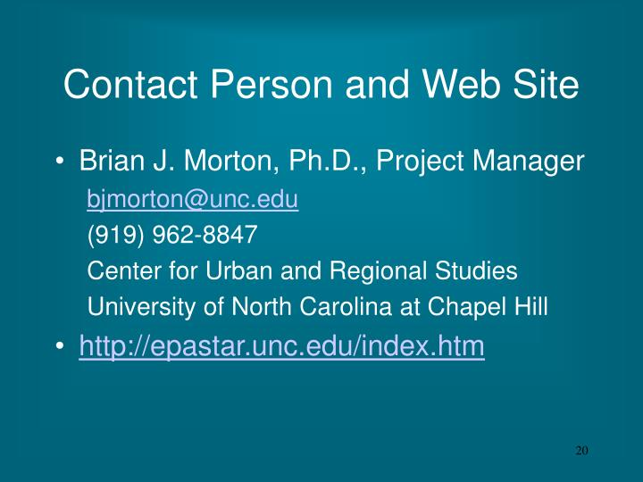 Contact Person and Web Site