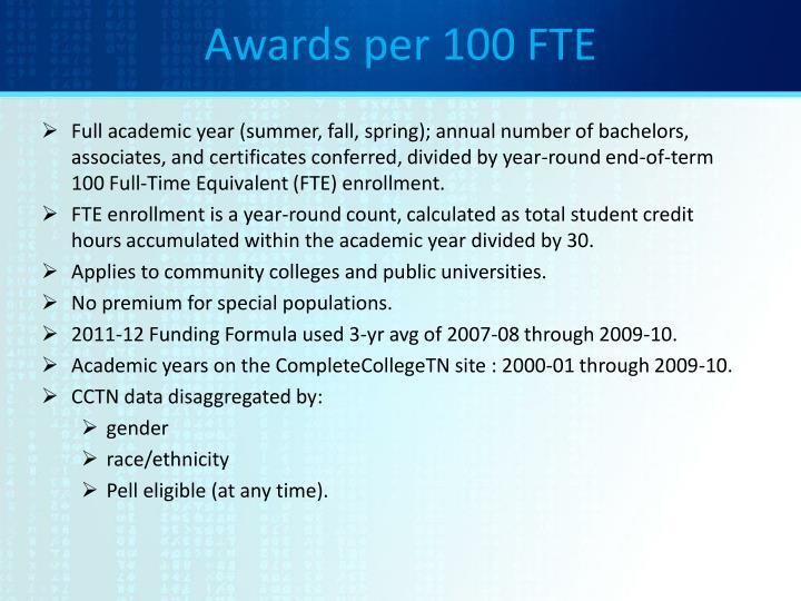 Awards per 100 FTE