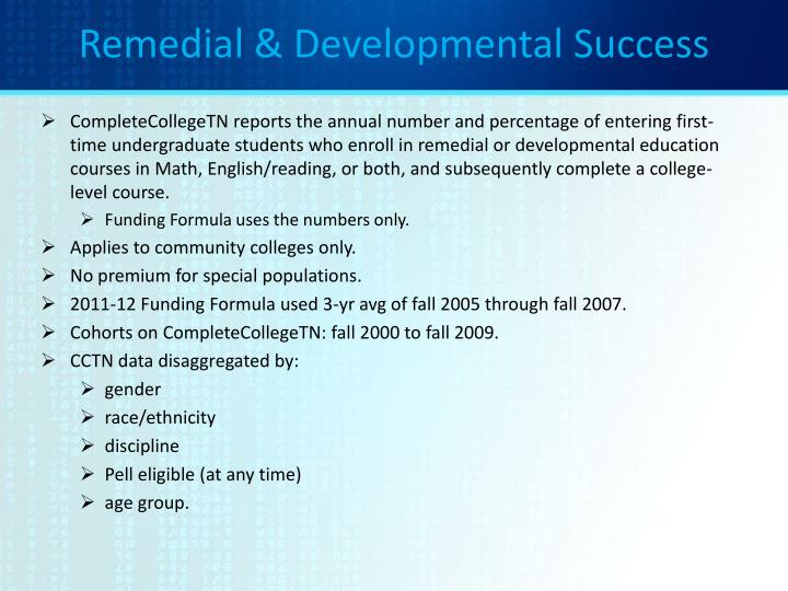 Remedial & Developmental Success