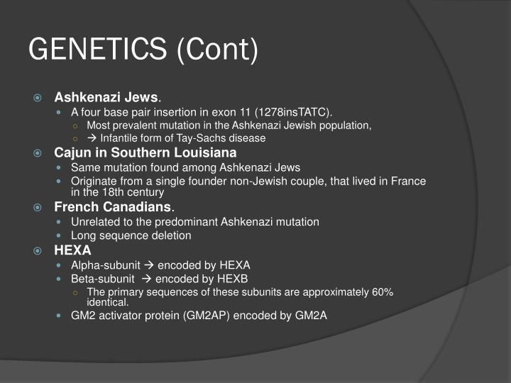 GENETICS (Cont)