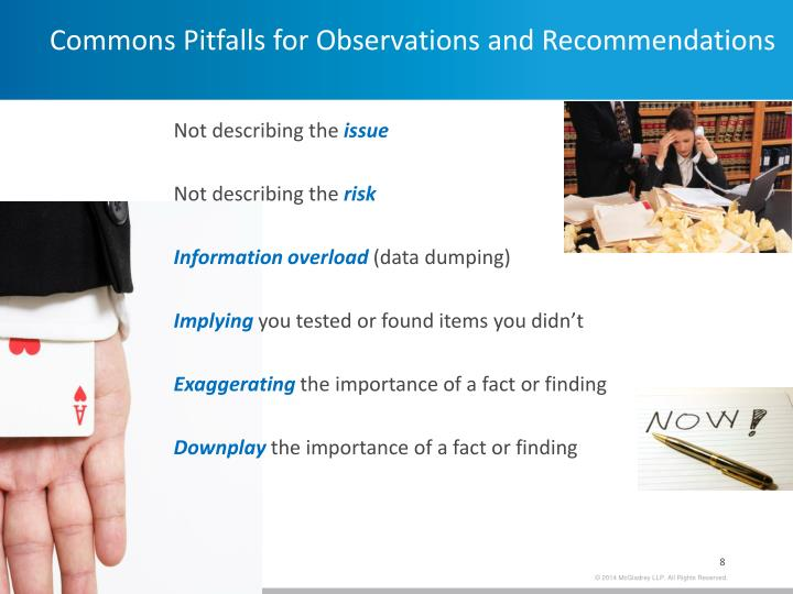 Commons Pitfalls for Observations and Recommendations