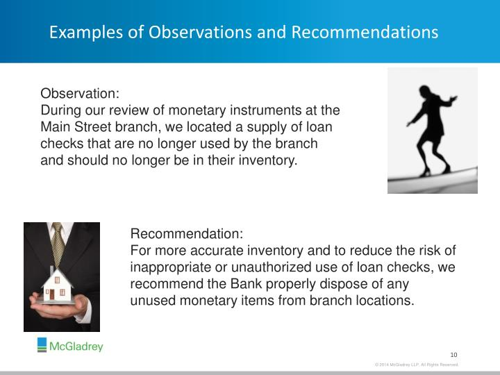 Examples of Observations and Recommendations