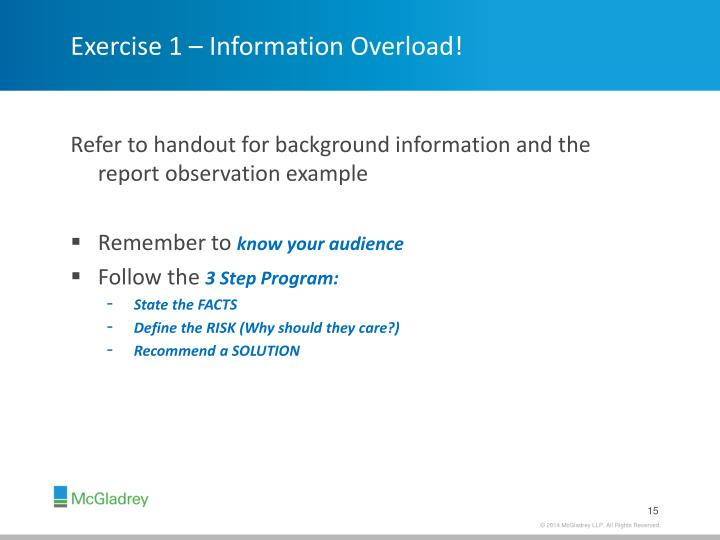Exercise 1 – Information Overload!