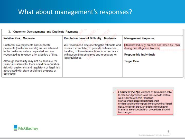 What about management's responses?