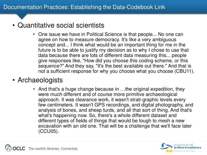 Documentation Practices: Establishing the Data-Codebook Link