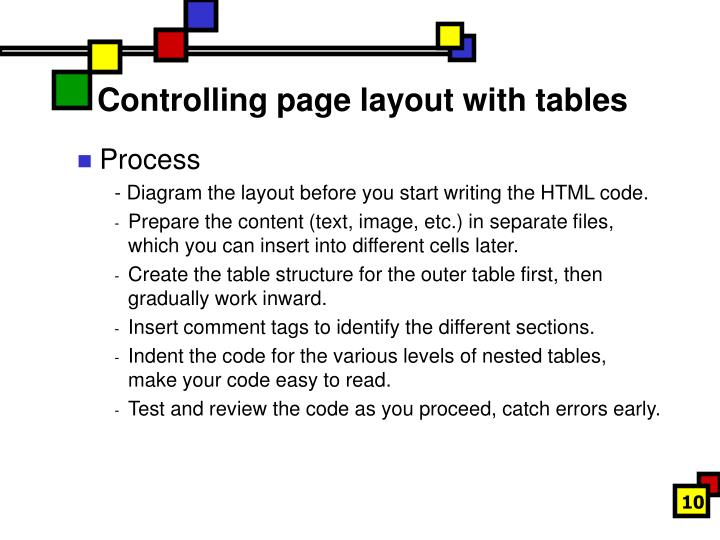 Controlling page layout with tables