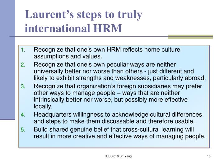 Laurent's steps to truly international HRM