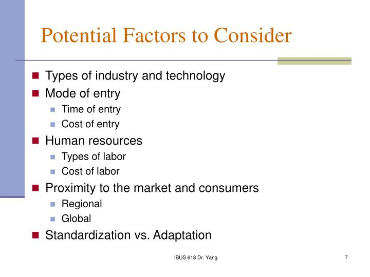 Potential Factors to Consider