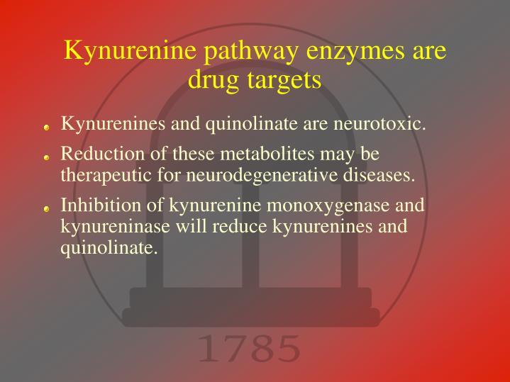 Kynurenine pathway enzymes are drug targets