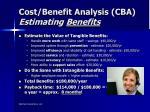 cost benefit analysis cba estimating benefits