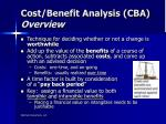cost benefit analysis cba overview