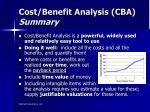 cost benefit analysis cba summary