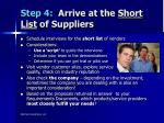 step 4 arrive at the short list of suppliers