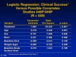 logistic regression clinical success versus possible covariates studies 048p 049p n 689