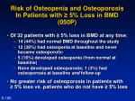 risk of osteopenia and osteoporosis in patients with 5 loss in bmd 050p