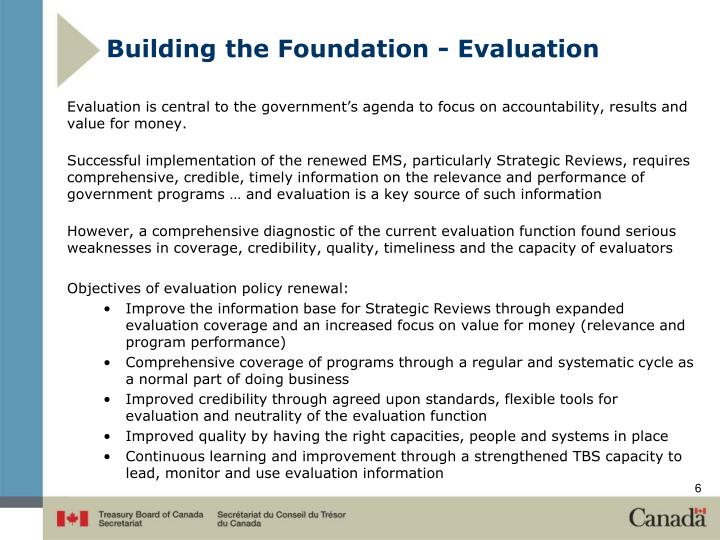 Building the Foundation - Evaluation