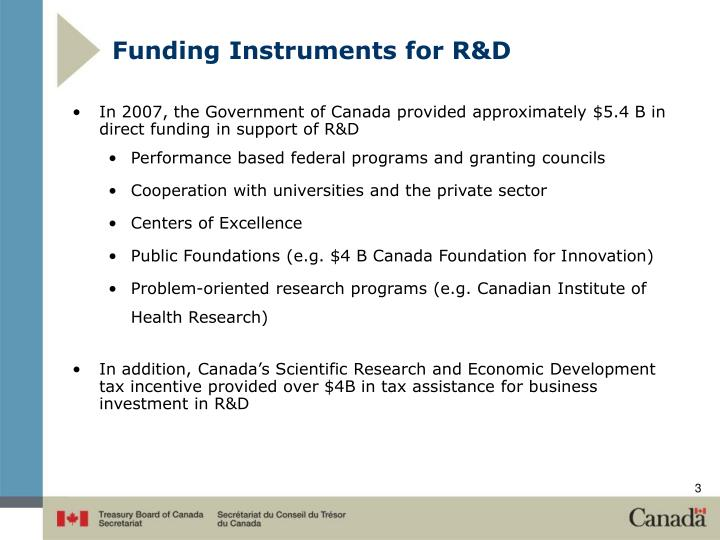 Funding Instruments for R&D