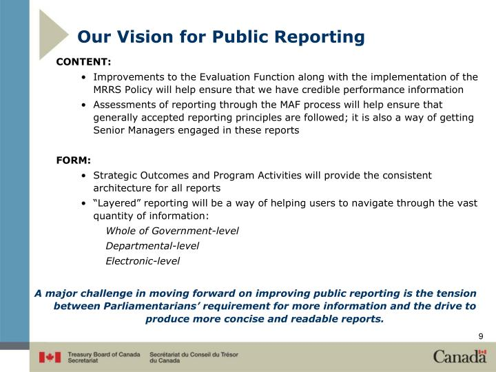 Our Vision for Public Reporting