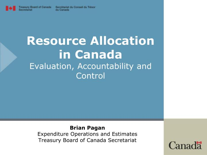 resource allocation in canada evaluation accountability and control