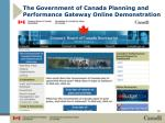 the government of canada planning and performance gateway online demonstration