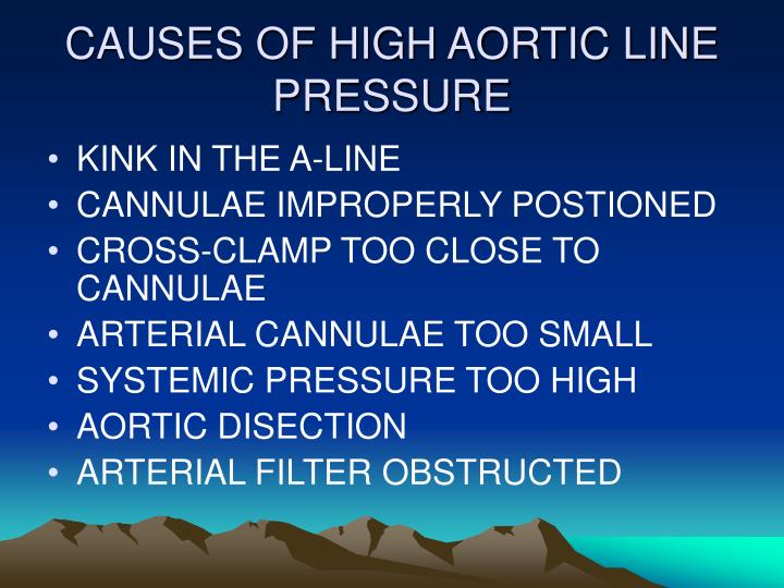 CAUSES OF HIGH AORTIC LINE PRESSURE