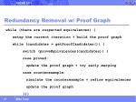 redundancy removal w proof graph