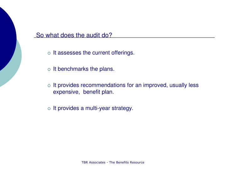 So what does the audit do?