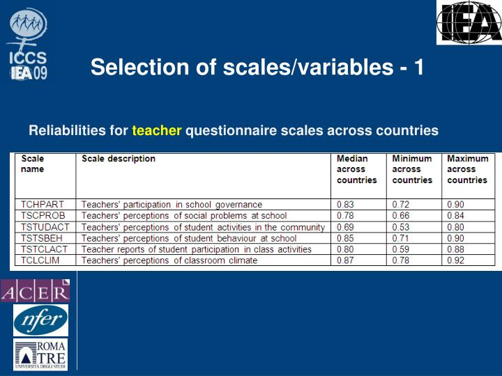 Selection of scales/variables - 1