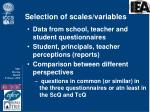 selection of scales variables
