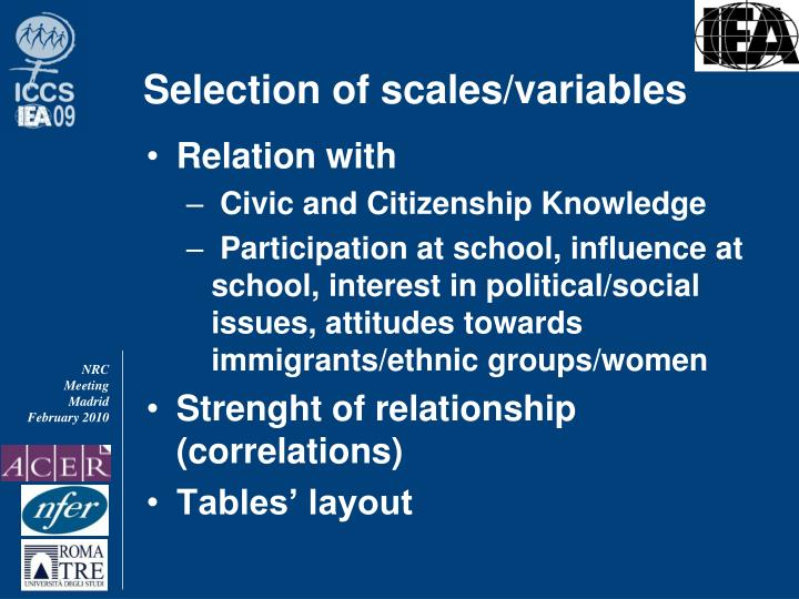 Selection of scales/variables
