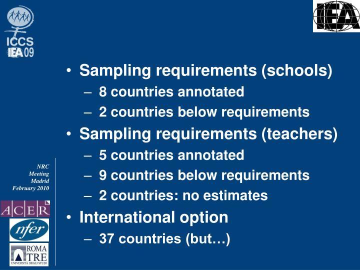 Sampling requirements (schools)