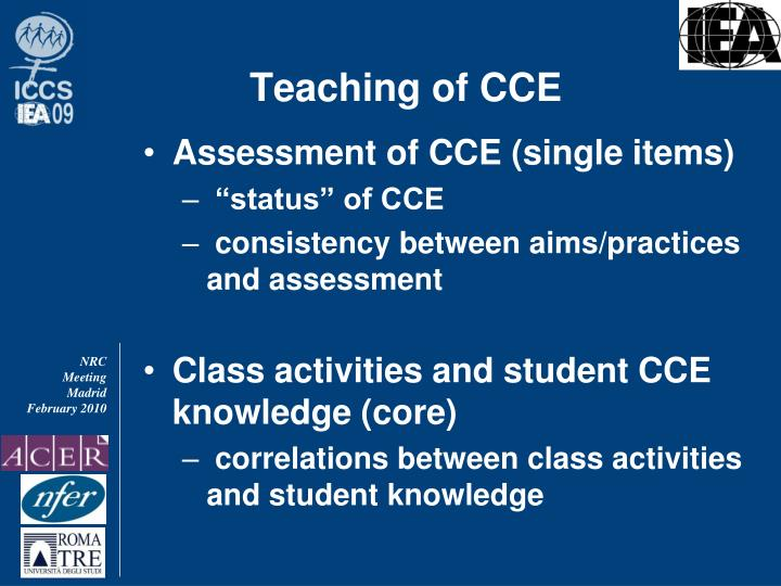Teaching of CCE