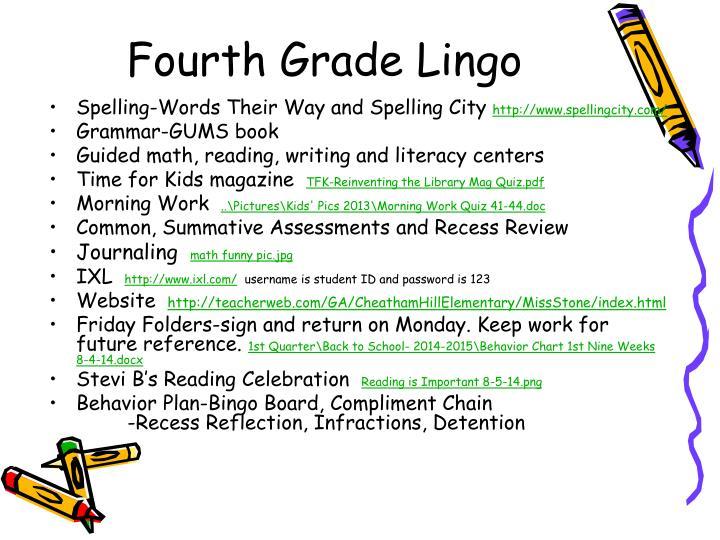 Fourth Grade Lingo