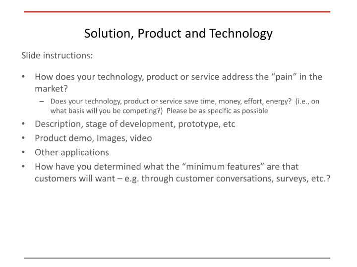 Solution, Product and Technology