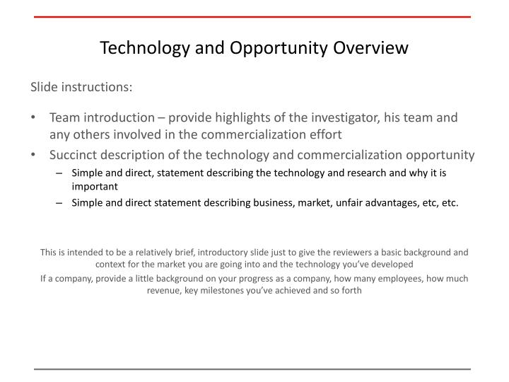Technology and opportunity overview