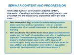 seminar content and progression