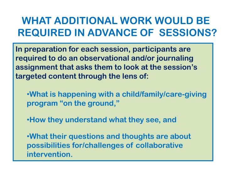WHAT ADDITIONAL WORK WOULD BE REQUIRED IN ADVANCE OF  SESSIONS?