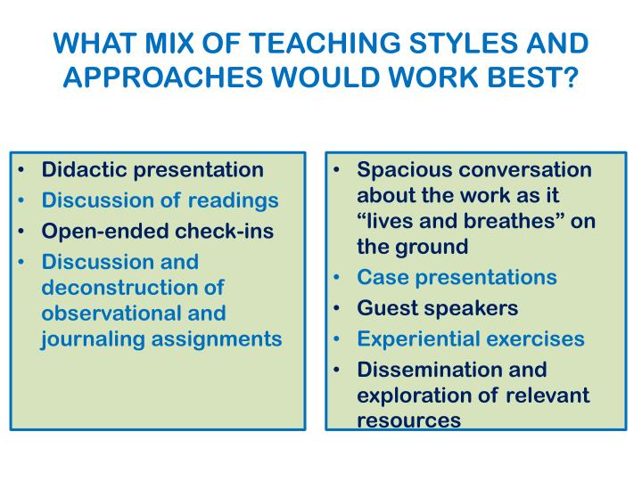 WHAT MIX OF TEACHING STYLES AND APPROACHES WOULD WORK BEST?