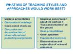 what mix of teaching styles and approaches would work best