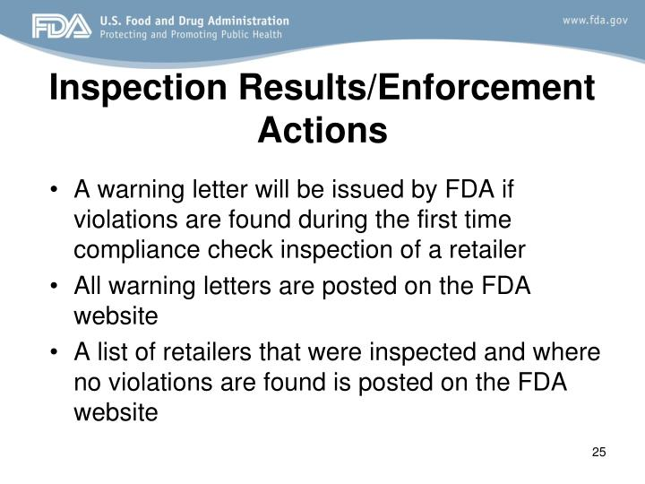Inspection Results/Enforcement Actions