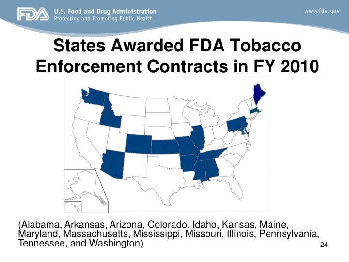 States Awarded FDA Tobacco Enforcement Contracts in FY 2010