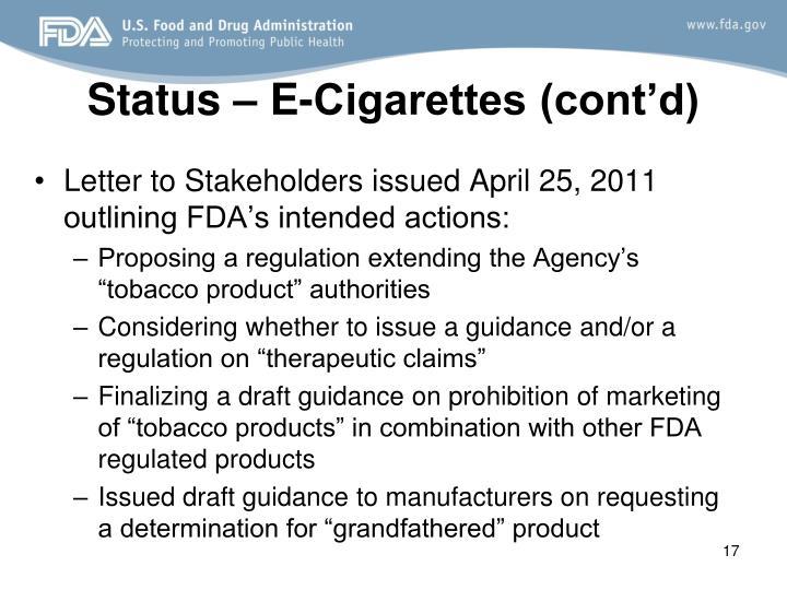 Status – E-Cigarettes (cont'd)