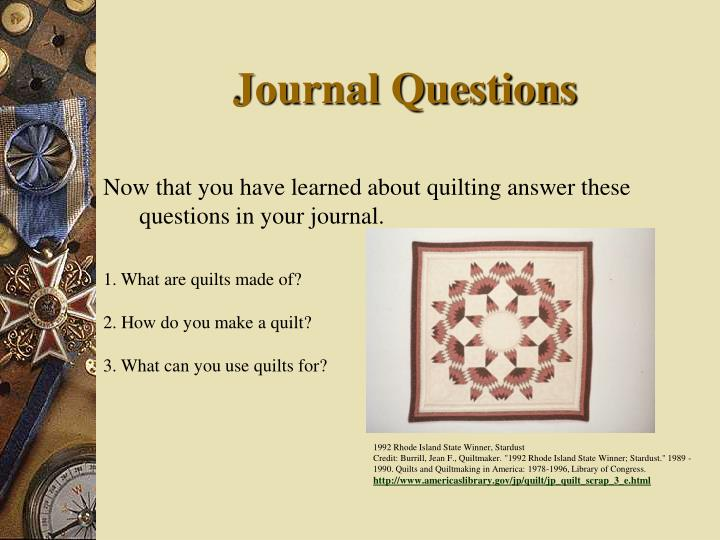 Journal Questions