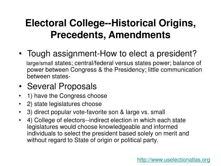 Electoral College--Historical Origins, Precedents, Amendments