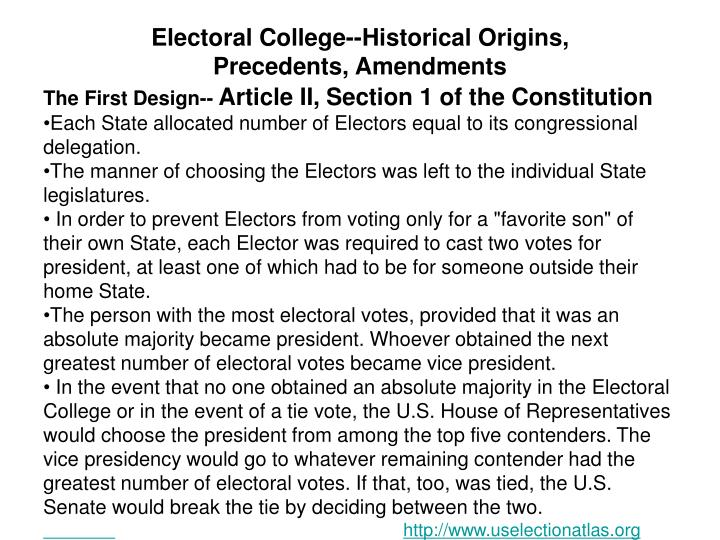 Electoral College--Historical Origins,