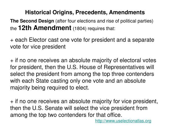 Historical Origins, Precedents, Amendments
