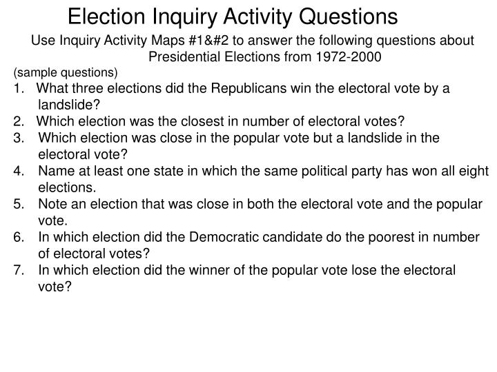 Election Inquiry Activity Questions