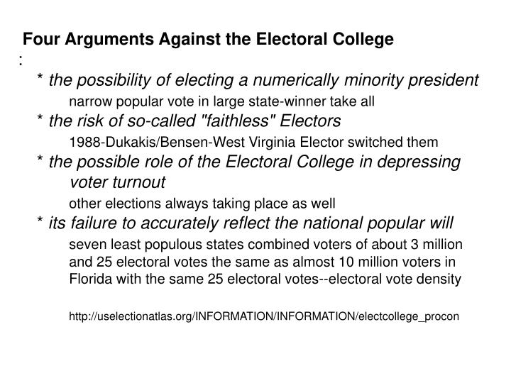 Four Arguments Against the Electoral College