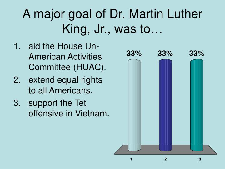 A major goal of Dr. Martin Luther King, Jr., was to…