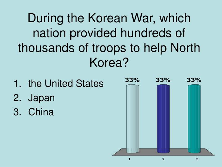 During the Korean War, which nation provided hundreds of thousands of troops to help North Korea?